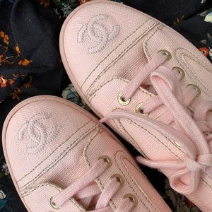 Chanel soft pink coated canvas sneaker